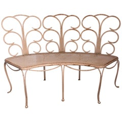 Midcentury French Wrought Iron Garden Bench, Two Available