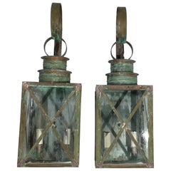Pair of Wall Hanging Copper Lantern