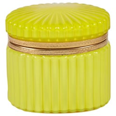 French 19th Century Yellow Glass Box