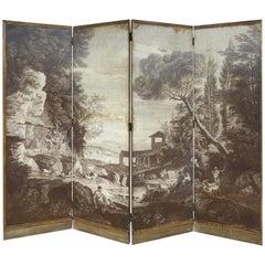 Maison Jansen Piranesi Four Panel Wallpaper Screen with Pastoral Scene