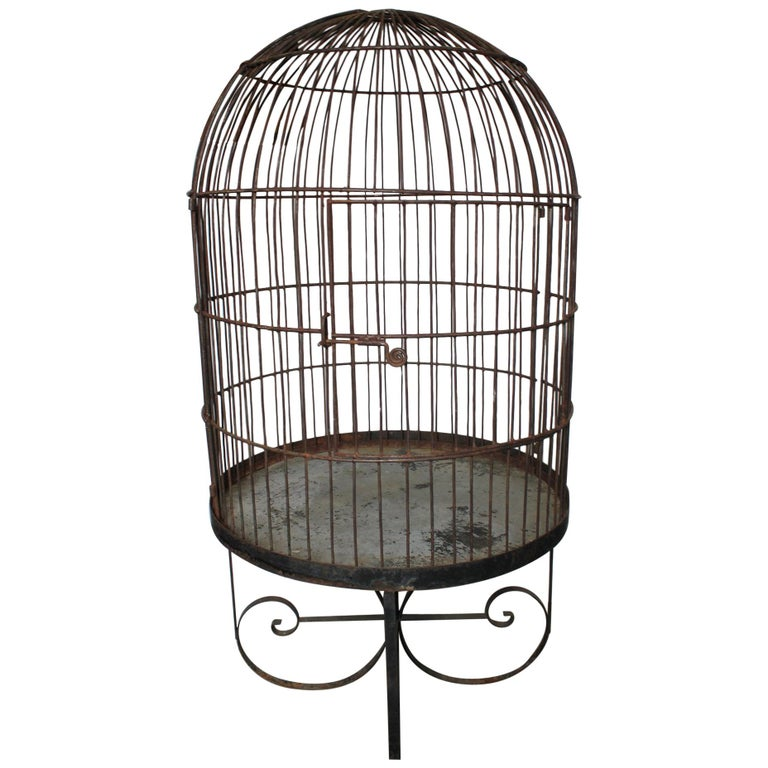 Large Antique French Wrought Iron Bird Cage