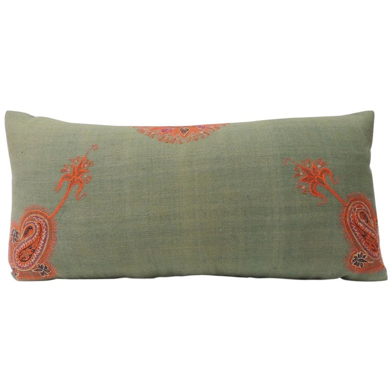 19th Century Green Paisley Embroidery Persian Long Bolster Pillow For Sale