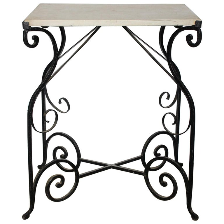 Antique French Wrought Iron and Marble Table