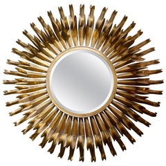 Large Spanish Gilt Metal Brutalist Eyelash Circular Mirror