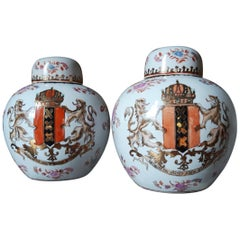 Pair of Chine de Commande Covered Porcelain Jars