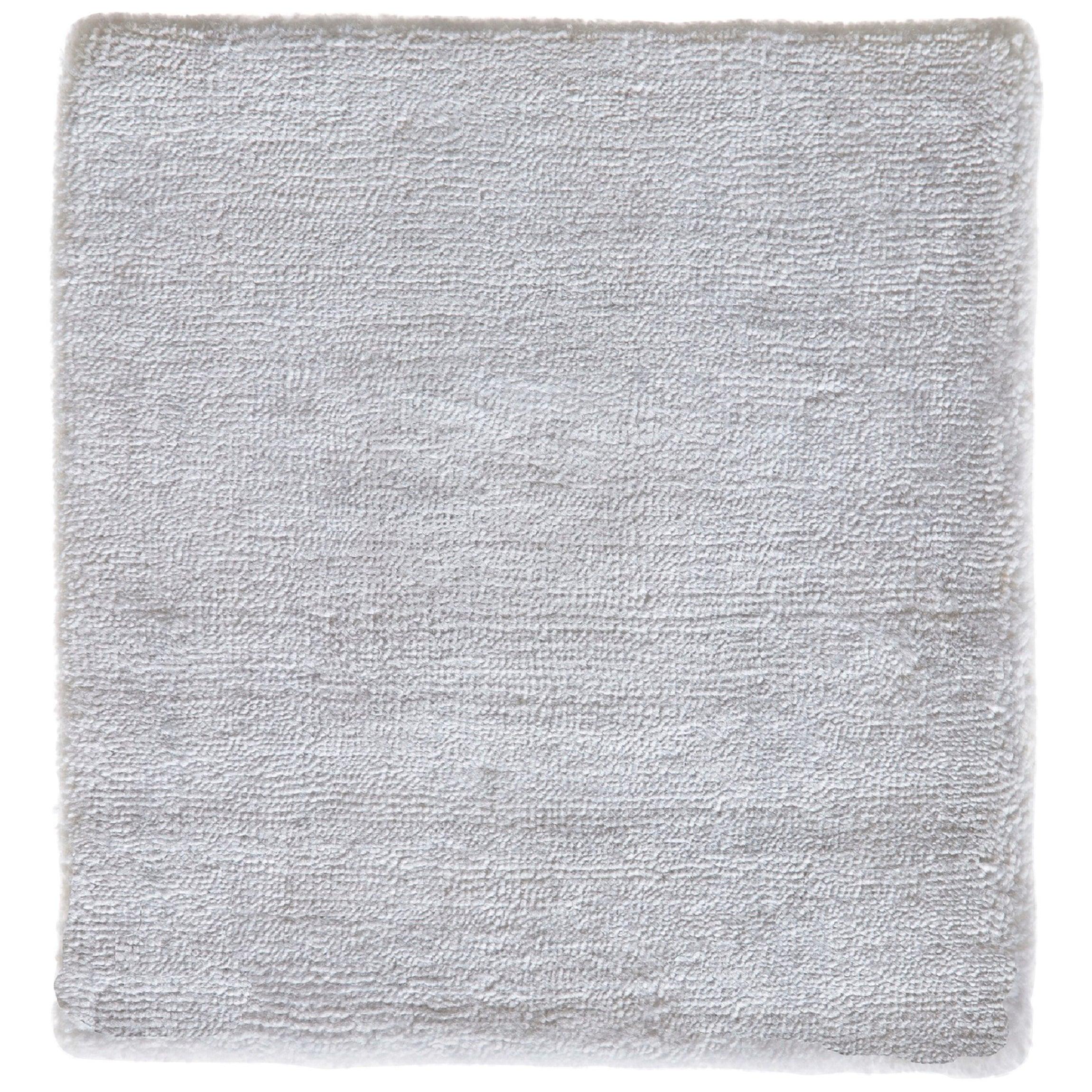 White Hand Woven Luxe Texture Soft Shine Smooth Finish Bamboo Silk Handmade Rug