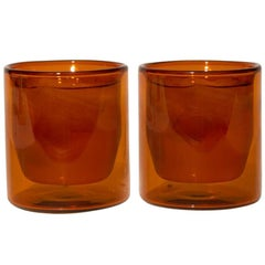 Double-Wall 6oz Glasses, Set of Two, Amber