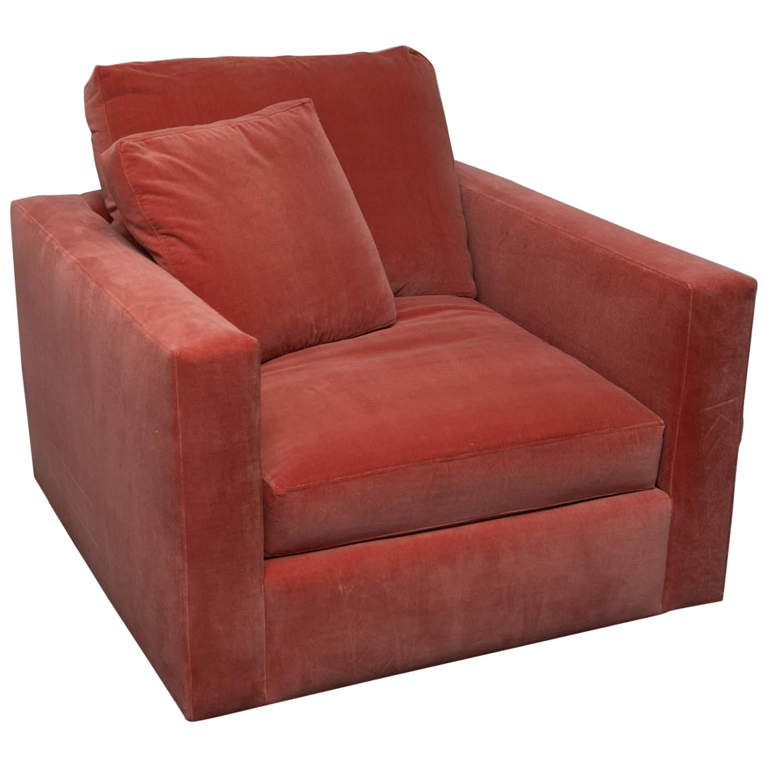Large Tuxedo Arm Swivel Club Chair In Salmon Ultrasuede For Sale