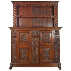 German / Lower Rhine 18th Century Carved Pine Cabinet with Dish-Rack