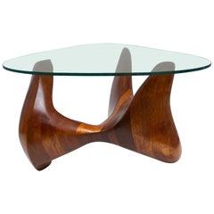 Handmade Biomorphic Wood and Glass Coffee Table