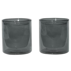 Double-Wall 6oz Glasses, Set of Two, Gray