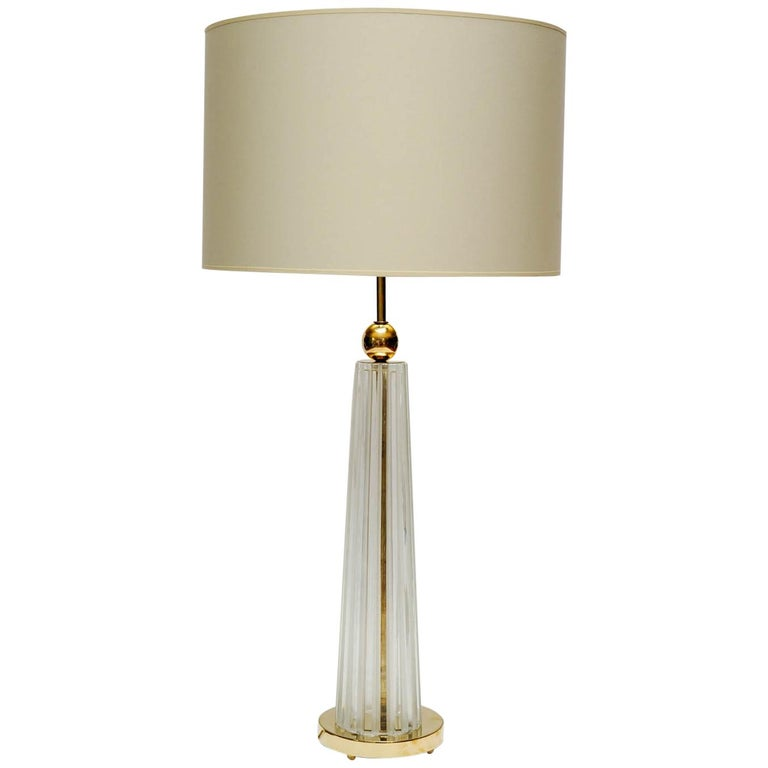 Pair of Brass and Clear Ridged Murano Glass Table Lamps