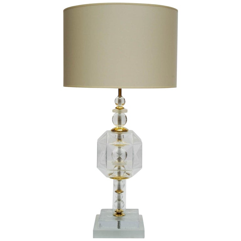 Pair of Clear Murano Glass Table Lamps