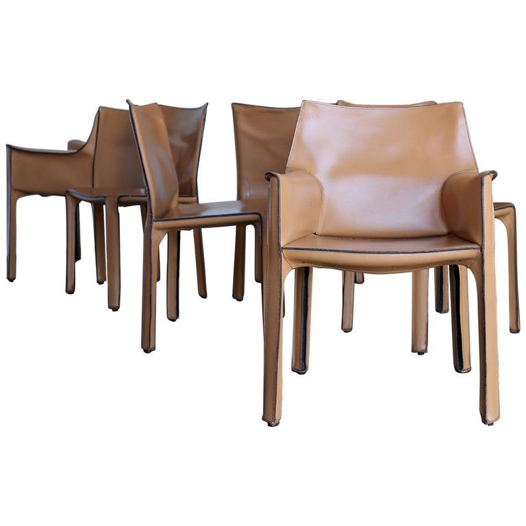 Mario Bellini Set of Six Leather Cab Dining Chairs