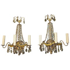 Elegant Pair of Crystal Sconces