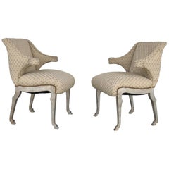 Mark Du Plantier Style Paw Feet Arm Chairs, Pair