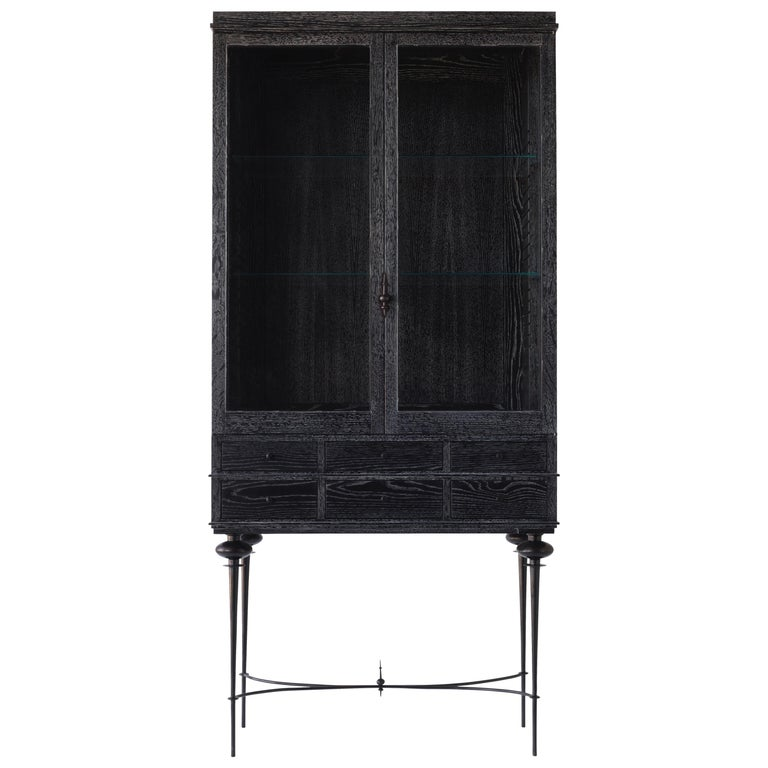 Contemporary Curio Cabinet In Cerused Rift Sawn Oak With