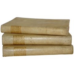 18th Century Set of Three Vellum Books