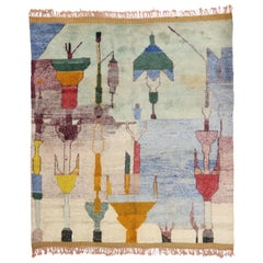 Contemporary Abstract Moroccan Rug with Pastel Colors and Modern Bauhaus Style