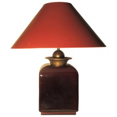 Glamorous Hollywood Regency Deep Oxblood High Glaze Ceramic and Brass Lamp