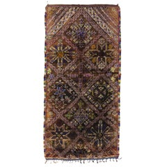 Vintage Chocolate Beni M'Guild Moroccan Rug, Berber Brown Moroccan Rug