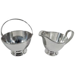 Stylish American Sterling Silver Creamer and Sugar by Tiffany & Co.