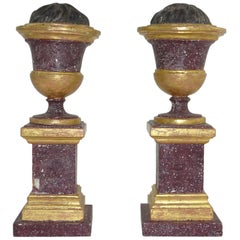 Pair of 19th Century Italian Painted Wood Architectural Ornaments