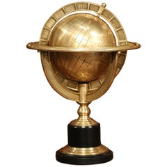 Mid-20th Century Bronze Globe on Wooden Stand
