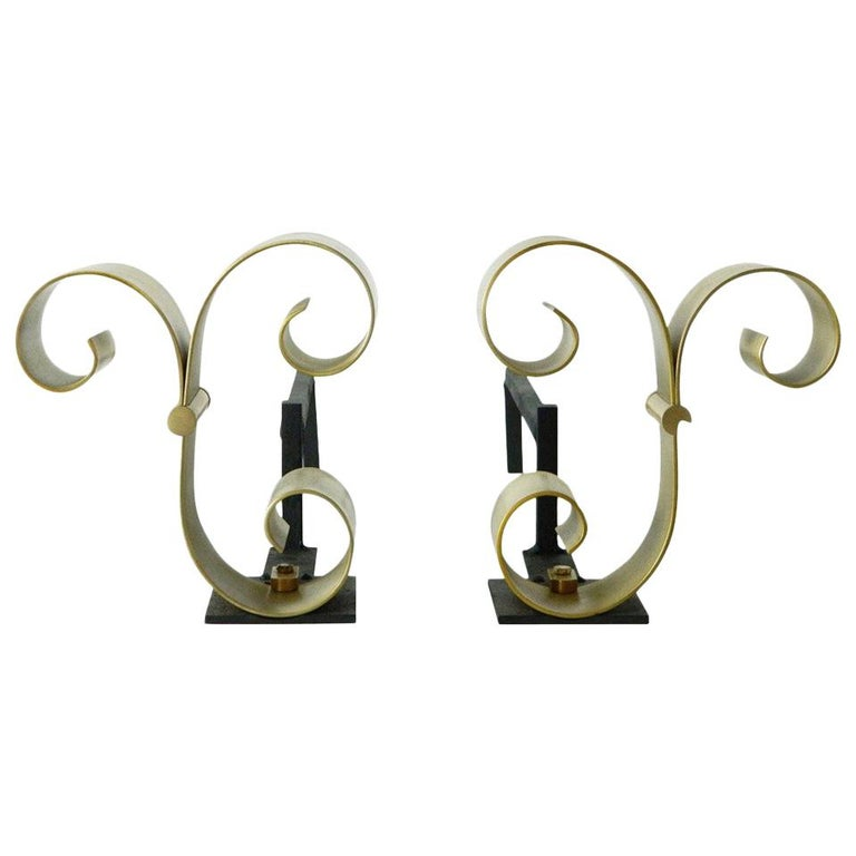 Pair of Brass Scroll Andirons Attributed to Raymond Subes For Sale