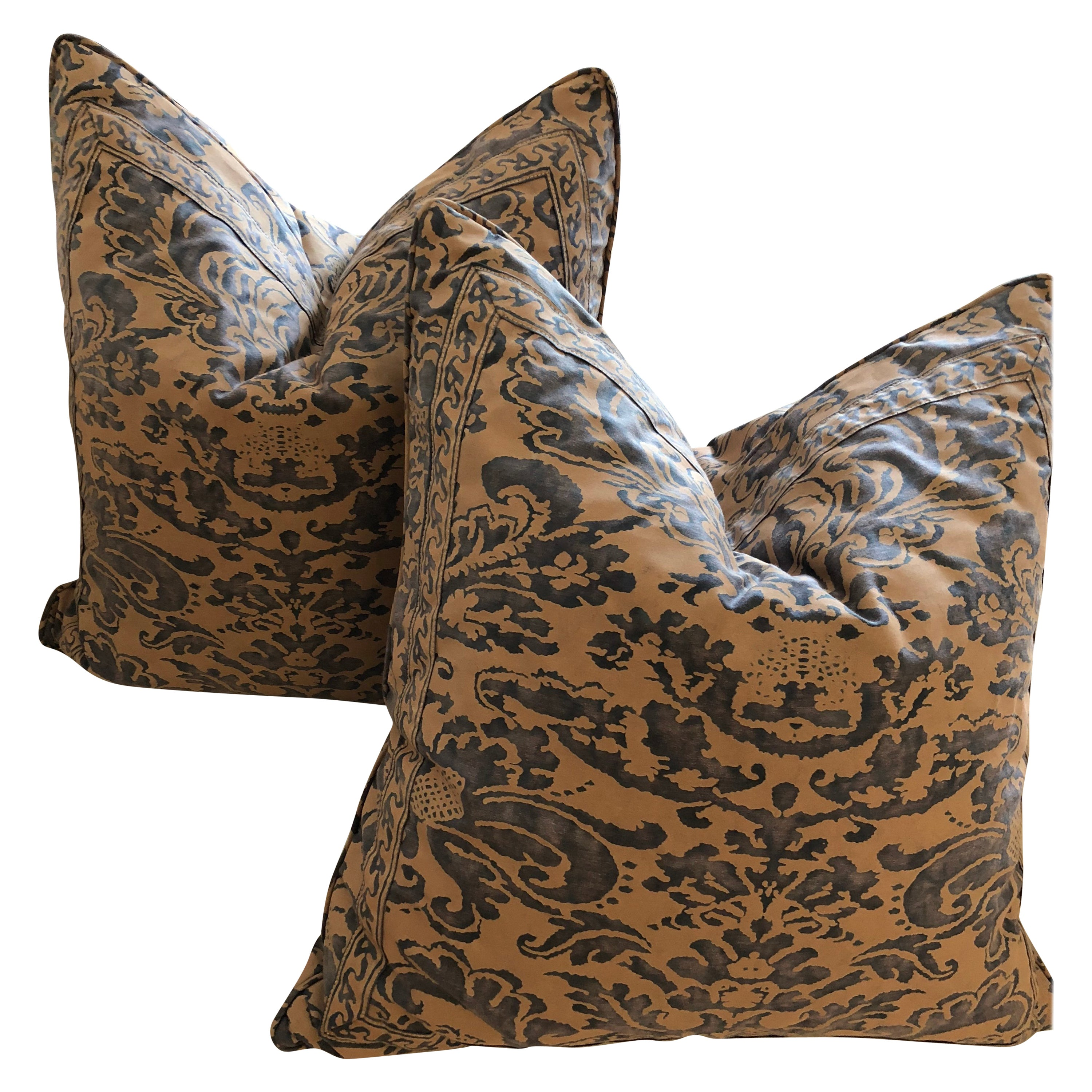 """Pair of Blue and Taupe Fortuny Cushions in the """"CORONE"""" pattern"""