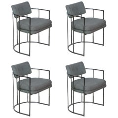 Milo Baughman for Thayer Coggin Chrome Dining Chairs, Set of Four, circa 1970