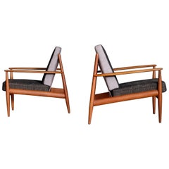 Pair of Grete Jalk Easy Chairs, Denmark, 1950s