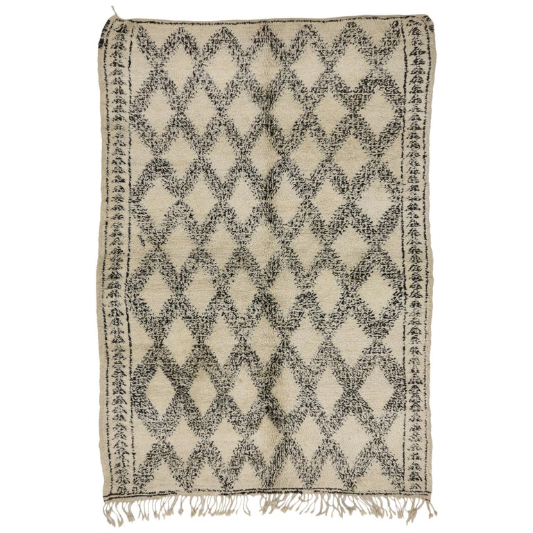 Vintage Beni Ourain Moroccan Rug with Tribal Style, Beni Ourain Rug
