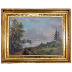 Original Antique Pastoral Hudson River Scene Oil Painting