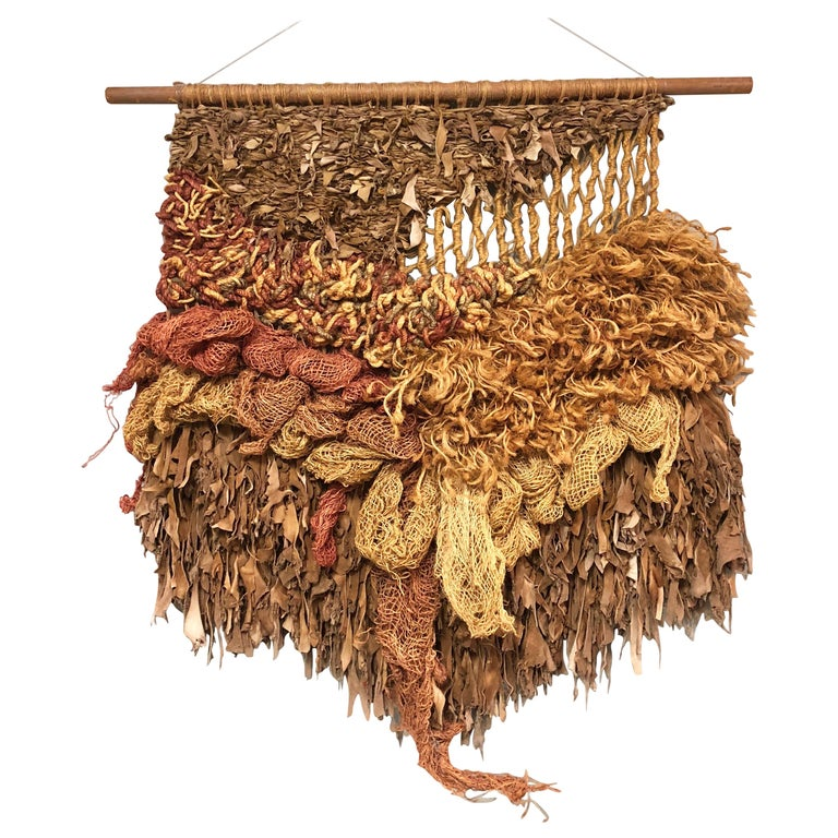 Modern Leather and Natural Fibers Wall Sculpture, 1970s For Sale
