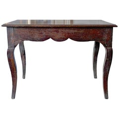 French XIX Hand-Carved And Stained Walnut Provençal Table On 4 Cabriole Legs