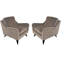 Early 1950s Pair of Harvey Probber Club Chairs in Smokey Gray Mohair