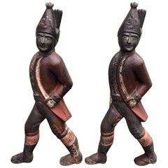 Hessian Soldier Andirons, circa Early 19th Century