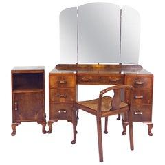 Art Deco Walnut Dressing Table Set