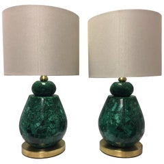 Pair of Brass and Malachite Veneered Lamps with Shades