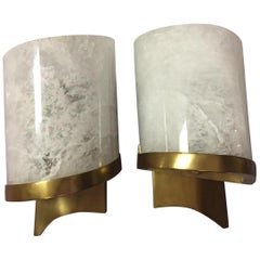 Pair of Modern Style Carved Rock Crystal and Brass Sconces