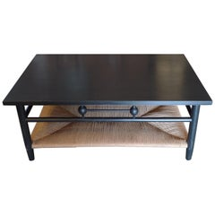 Contemporary Newport 1980s Style Wood Coffee Table with Rush Shelf