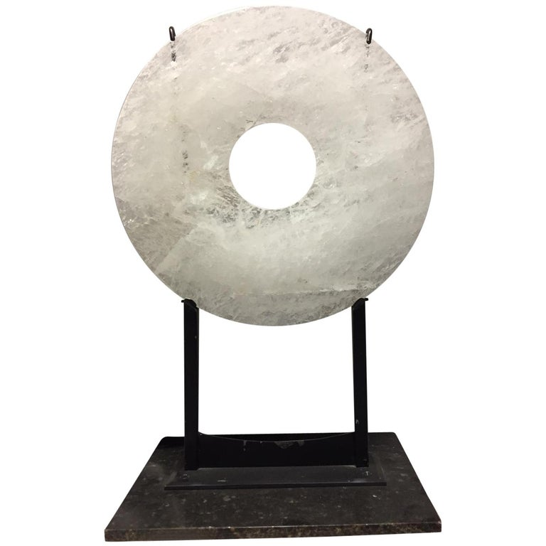 Modern Style Carved Rock Crystal and Marble Sculpture For Sale