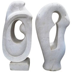 Pair of Modern Style Marble Abstract Sculpture Statues