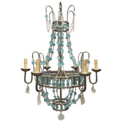 Italian Rock Crystal and Crystal Chandelier