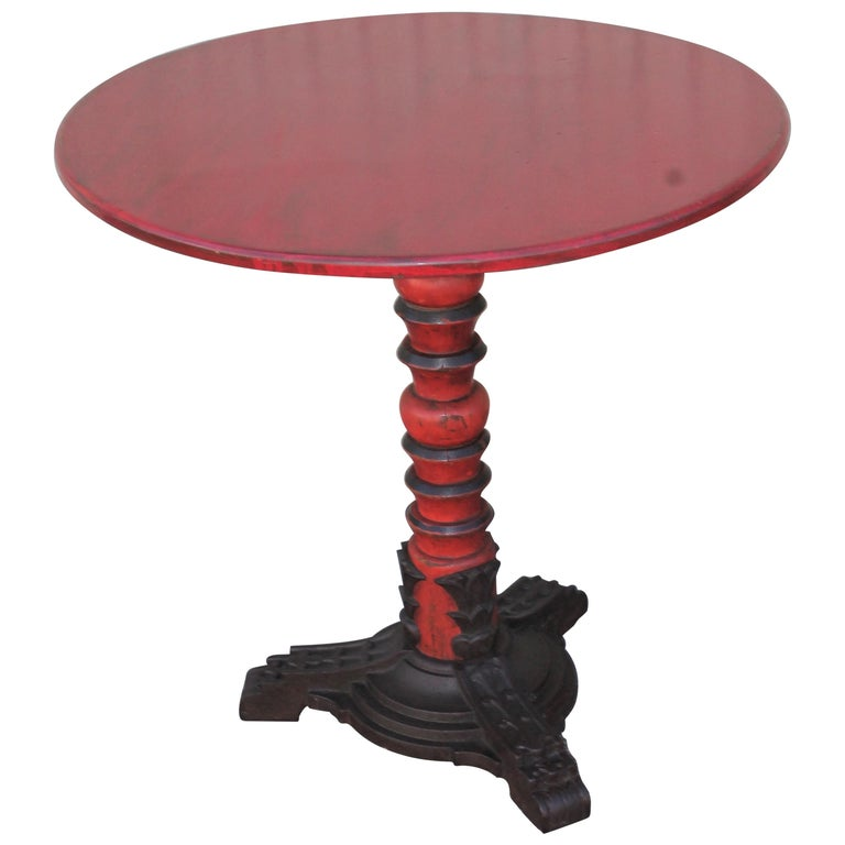 Folky Iron Base Pedestal Table For Sale