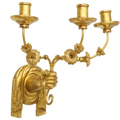Custom Pair of Giltwood Hand-Carved Sconces
