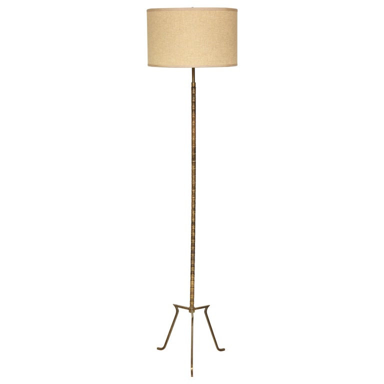 Custom Faux-Bamboo Brass Floor Lamp