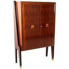Early Midcentury French Art Deco Rosewood Bar Cabinet