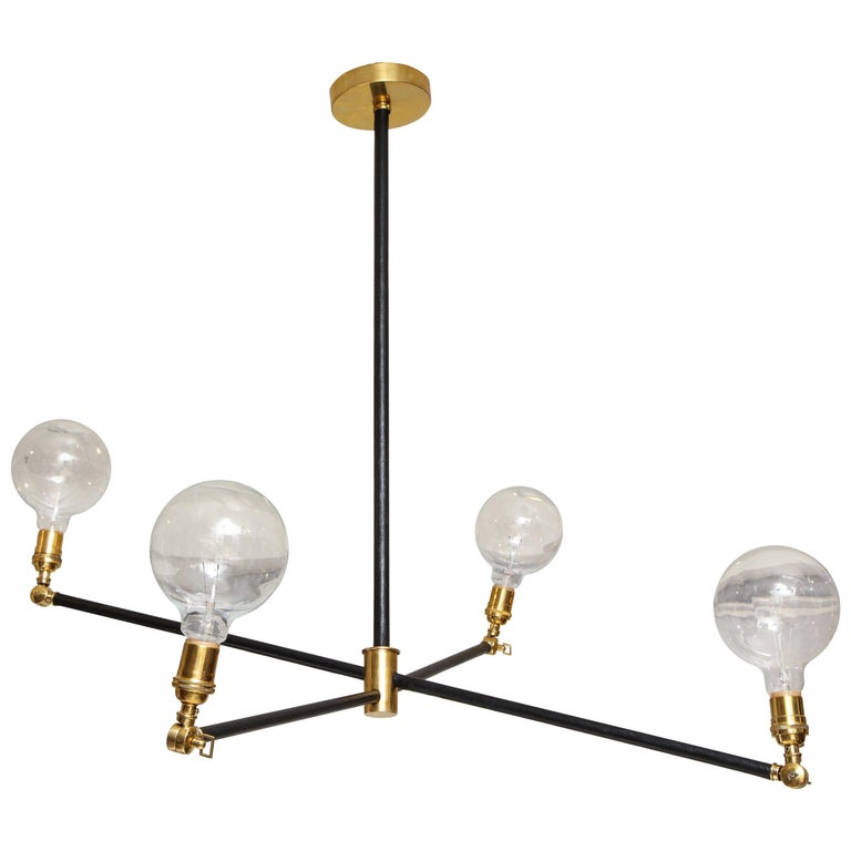 Sculptural Custom Leather and Brass Four-Arm Fixture with Articulating Arms